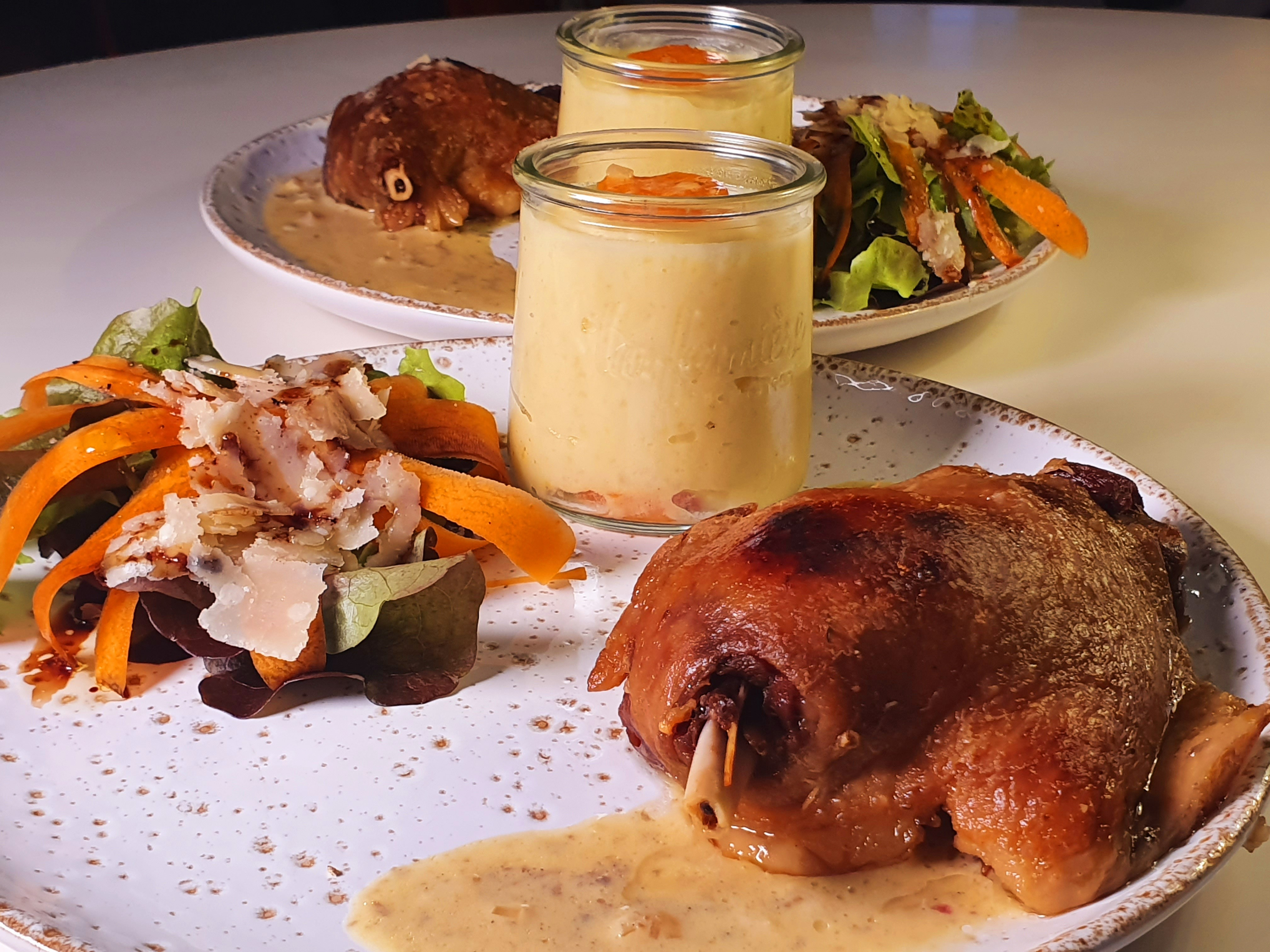 Duck confit, orange truffle sauce and mashed potatoes